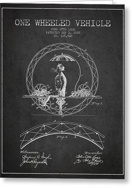 Driving Greeting Cards - One Wheeled Vehicle Patent Drawing from 1885 - Dark Greeting Card by Aged Pixel