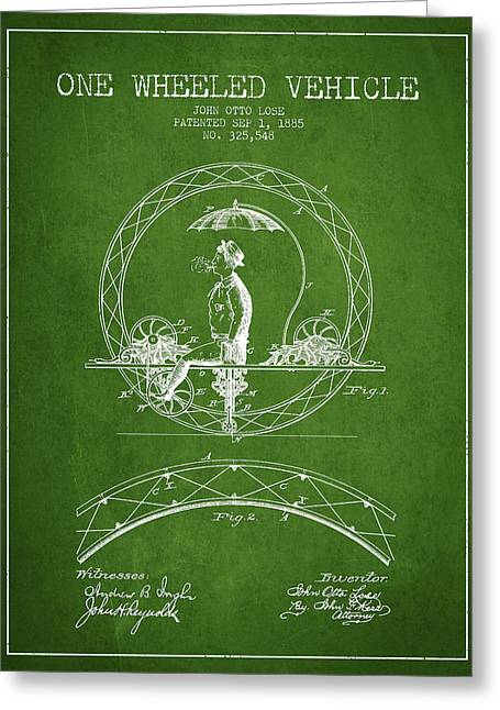 Driving Greeting Cards - One Wheeled Vehicle Patent Drawing from 1885 - Green Greeting Card by Aged Pixel