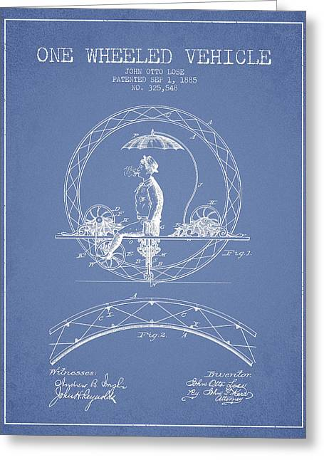 Vintage Bicycle Greeting Cards - One Wheeled Vehicle Patent Drawing from 1885 - Light Blue Greeting Card by Aged Pixel