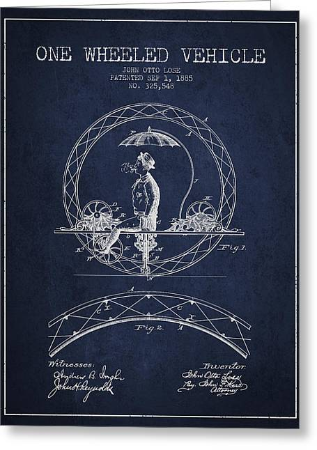 Driving Greeting Cards - One Wheeled Vehicle Patent Drawing from 1885 - Navy Blue Greeting Card by Aged Pixel