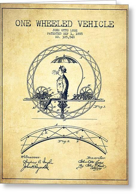Vintage Bicycle Greeting Cards - One Wheeled Vehicle Patent Drawing from 1885 - Vintage Greeting Card by Aged Pixel