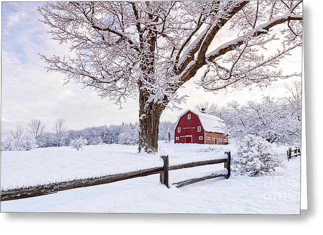 New England Morning Greeting Cards - One Winter Morning on the Farm Greeting Card by Edward Fielding