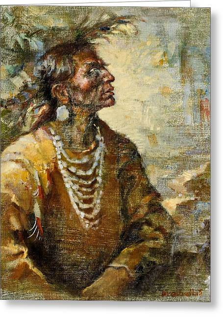 Plains Indian Greeting Cards - One With the Earth Greeting Card by Ellen Dreibelbis