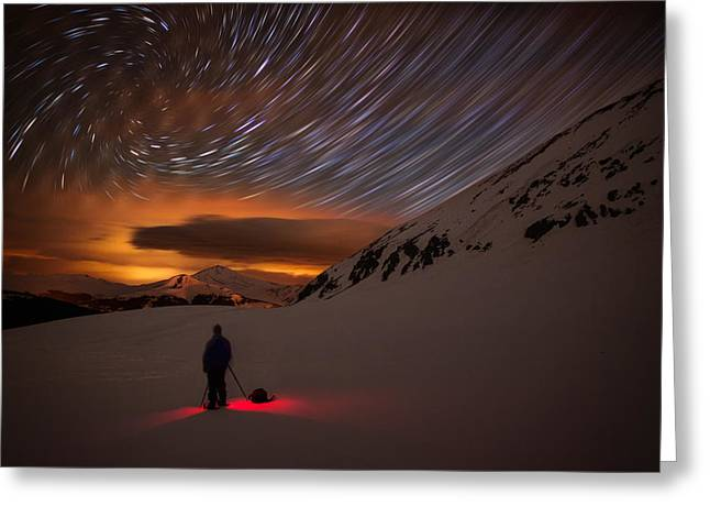 Light Pollution Greeting Cards - One With The Night Greeting Card by Mike Berenson