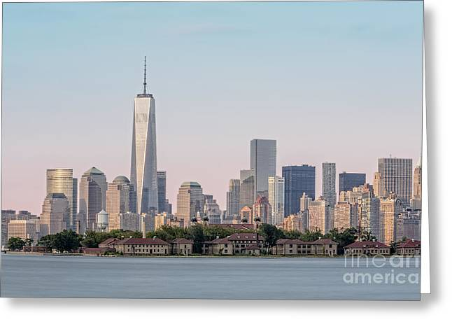 N.y. Greeting Cards - One World Trade Center And Ellis Island 2 Greeting Card by Susan Candelario