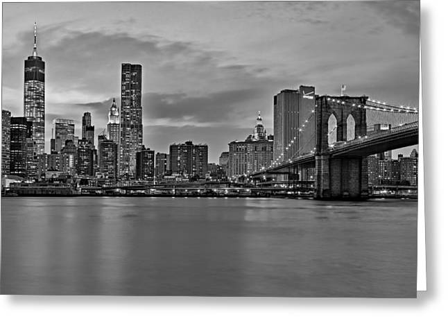 One World Trade Center And The Brooklyn Bridge Bw Greeting Card by Susan Candelario