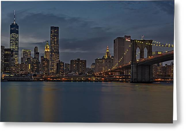 One World Trade Center And The Brooklyn Bridge Greeting Card by Susan Candelario