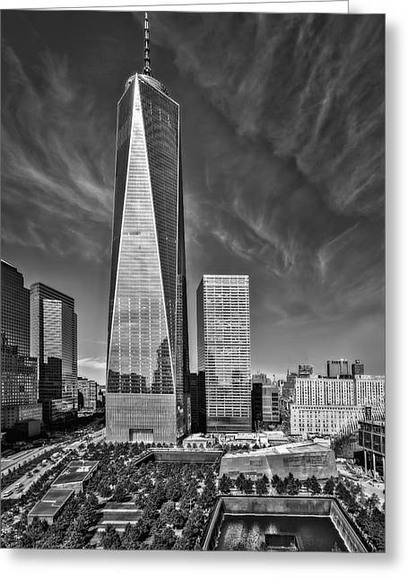 September 11 Wtc Greeting Cards - One World Trade Center Reflecting Pools BW Greeting Card by Susan Candelario