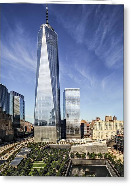 One World Trade Center Reflecting Pools Greeting Card by Susan Candelario