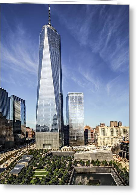 September 11 Wtc Greeting Cards - One World Trade Center Reflecting Pools Greeting Card by Susan Candelario