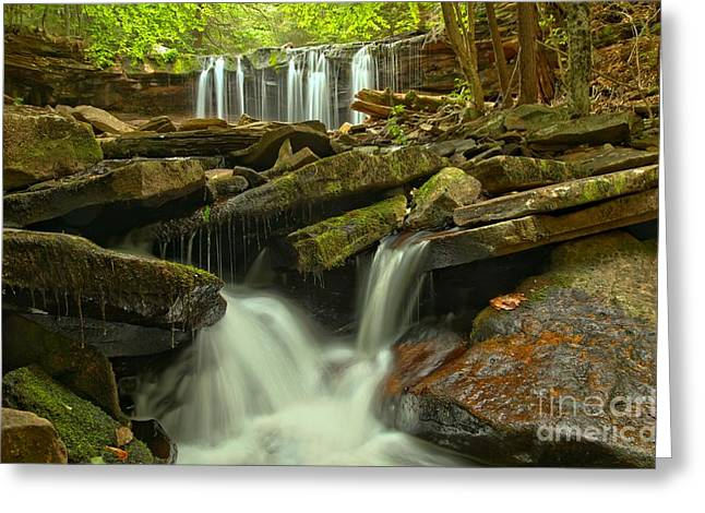 Oneida Greeting Cards - Oneida Falls Multiple Cascades Greeting Card by Adam Jewell