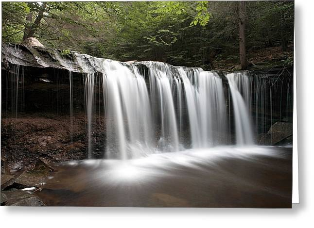 Overhang Greeting Cards - Oneida Waterfall Wearing a Summer Veil Greeting Card by Gene Walls