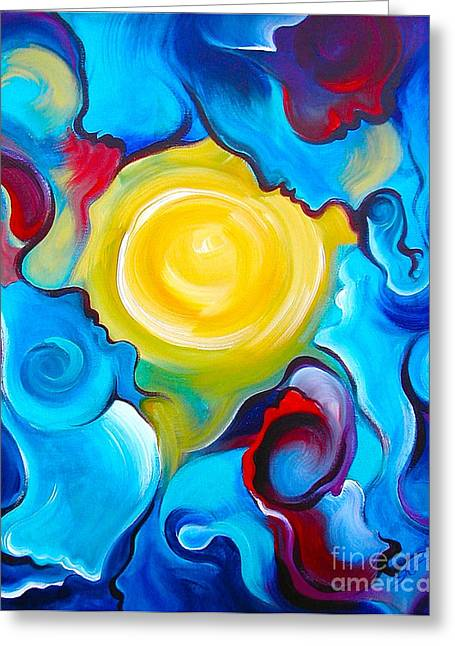 Merging Paintings Greeting Cards - Oneness Greeting Card by Gem J Shimada
