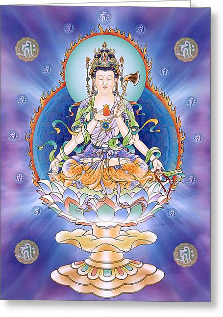Kuan Greeting Cards - Oneness Avalokitesvara  Greeting Card by Lanjee Chee
