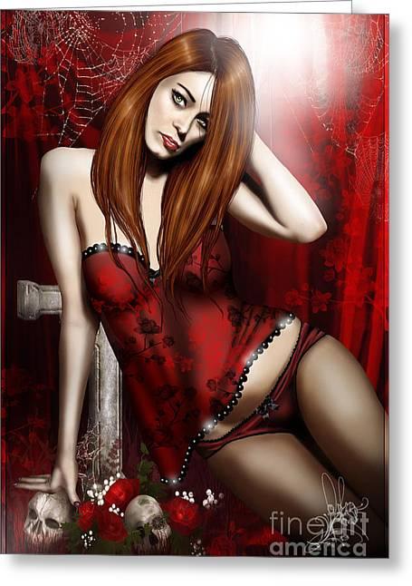 Goth Girl Digital Art Greeting Cards - Onine Greeting Card by Akkasshaa