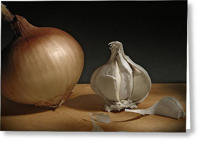 View Pyrography Greeting Cards - Onion and Garlic Greeting Card by Krasimir Tolev