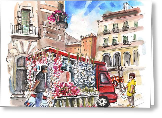 Italian Shopping Drawings Greeting Cards - Onion and Garlic Street Seller in Siracusa Greeting Card by Miki De Goodaboom
