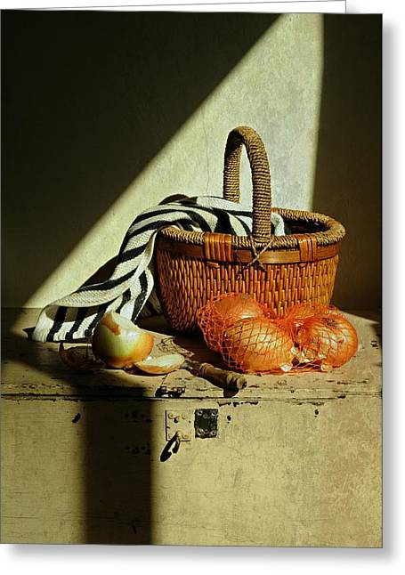 Window Of Life Greeting Cards - Onion Basket Greeting Card by Diana Angstadt