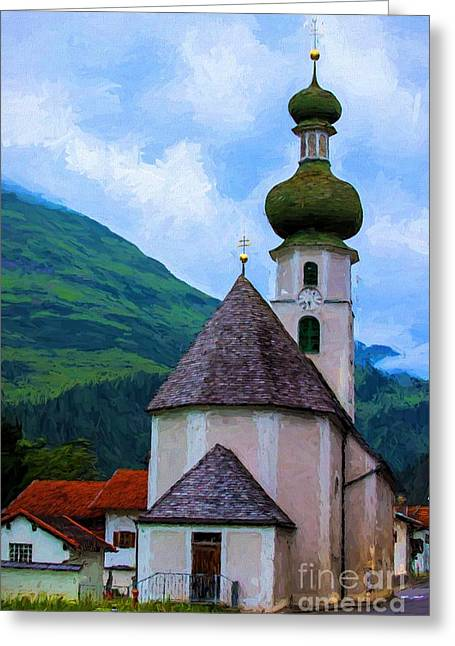 Cupola Greeting Cards - Onion Domed Church - Austria Mountain Village Greeting Card by Gary Whitton