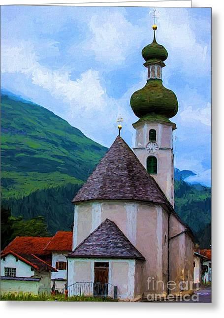 Onion Domed Church - Austria Mountain Village Greeting Card by Gary Whitton