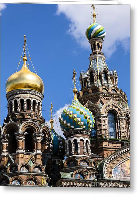 From The Dome Greeting Cards - Onion Domes Church Of Spilled Blood Greeting Card by Andy Myatt