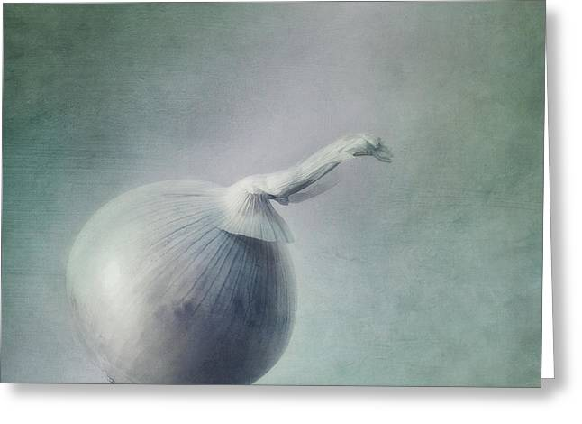 Food Still Life Greeting Cards - Onion Greeting Card by Priska Wettstein