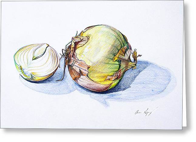 Stew Greeting Cards - Onions Greeting Card by Aaron Spong