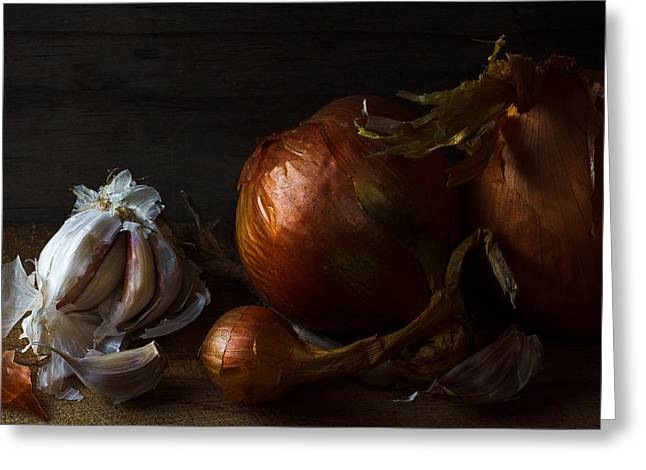 Old Masters Photographs Greeting Cards - Onions and garlic Greeting Card by Constance Fein Harding