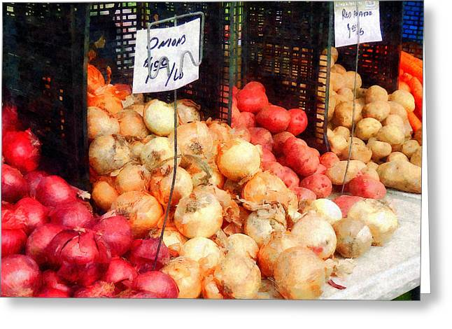 Onion Greeting Cards - Onions and Potatoes Greeting Card by Susan Savad