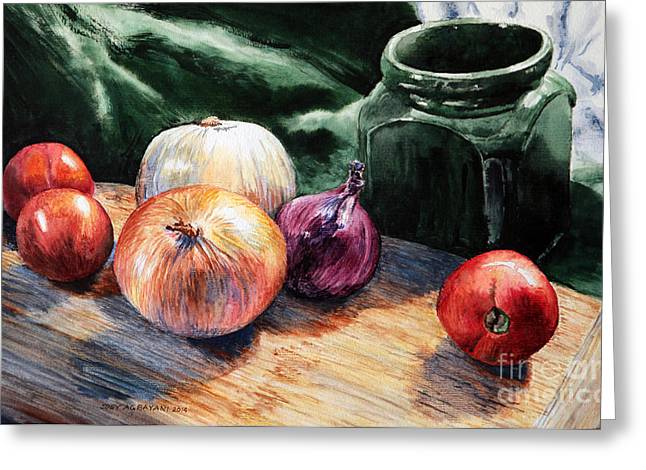 Water Jars Greeting Cards - Onions and Tomatoes Greeting Card by Joey Agbayani