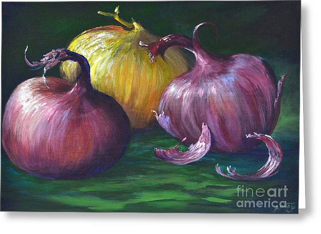 Satisfaction Greeting Cards - Onions Greeting Card by AnnaJo Vahle