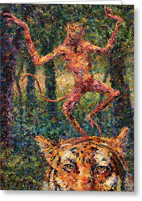 Monkey Greeting Cards - Only a Crazy Monkey dances on a Tigers Head Greeting Card by James W Johnson