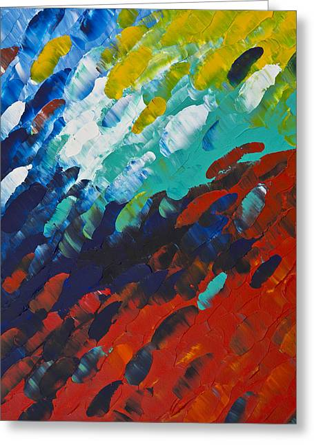 Red Abstracts Greeting Cards - Only Till Eternity 1st Panel Greeting Card by Sharon Cummings