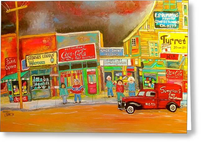 Litvack Naive Greeting Cards - Ontario Street 1960 Greeting Card by Michael Litvack