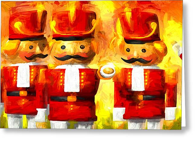 Toy Shop Paintings Greeting Cards - Onward Toy Soldiers Greeting Card by Bob Orsillo
