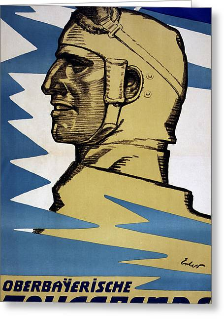 Ww1 Drawings Greeting Cards - Onwards Upper Bavarian Aviation Fund Greeting Card by Fritz Erler