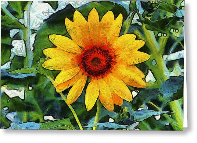 Onyx Greeting Cards - Onyx Store Sunflower Greeting Card by Barbara Snyder