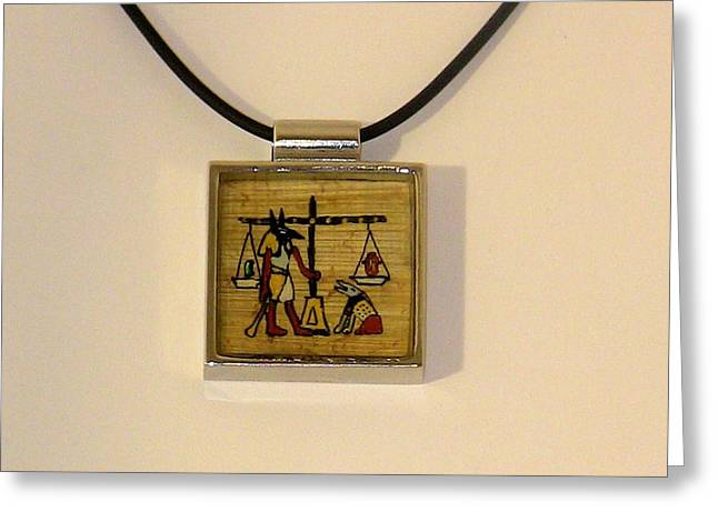 Book Jewelry Greeting Cards - OOAK Anubis Do No Evil Amulet Necklace Hand Painted Papyrus Greeting Card by Pet Serrano