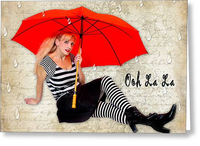 Black Boots Mixed Media Greeting Cards - Ooh La La Greeting Card by Trudy Wilkerson
