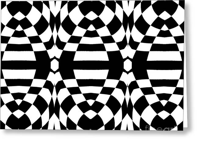 Geometric Design Greeting Cards - Op Art Black White Geometric Abstract Print No.262. Greeting Card by Drinka Mercep