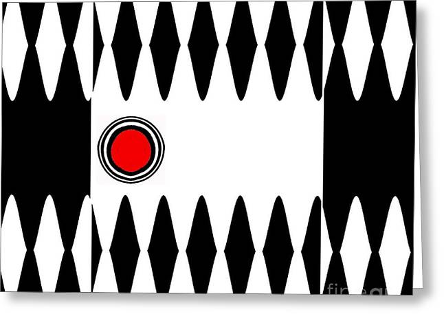 Geometric Style Greeting Cards - Op Art Black White Red Minimalist Geometric Abstract Print No.277 Greeting Card by Drinka Mercep