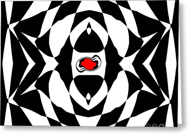 Geometric Style Greeting Cards - Op Art Geometric Black White Red Abstract No.151. Greeting Card by Drinka Mercep