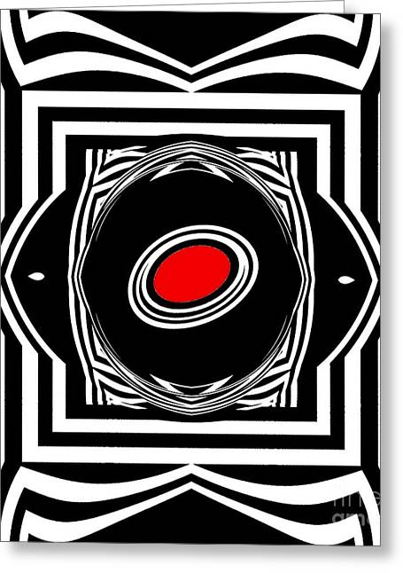 Introversion Greeting Cards - Op Art Geometric Black White Red Abstract Print No.33. Greeting Card by Drinka Mercep