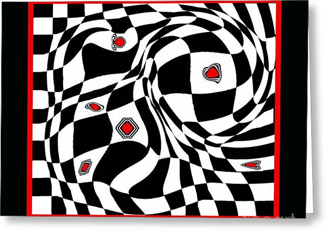 Introversion Greeting Cards - Op Art Geometric Black White Red Abstract Print No.70. Greeting Card by Drinka Mercep