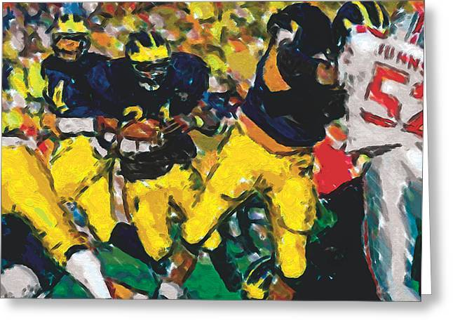Running Back Paintings Greeting Cards - Open a Hole Greeting Card by John Farr