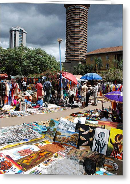 Geobob Greeting Cards - Open Air Arts Market Near KANU Towers Nairobi Kenya Greeting Card by Robert Ford
