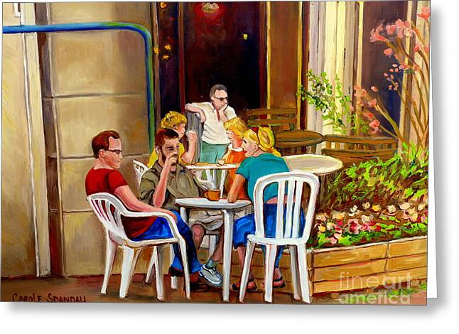 Rue Prince Arthur Greeting Cards - Open Air Cafe Parisian Style Bistro-rue St Denis Montreal Cafe Paintings Carole Spandau Greeting Card by Carole Spandau