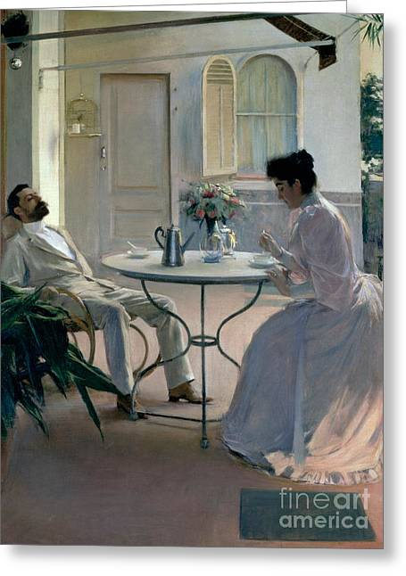 Catalan Greeting Cards - Open Air Interior Barcelona Greeting Card by Ramon Casas i Carbo