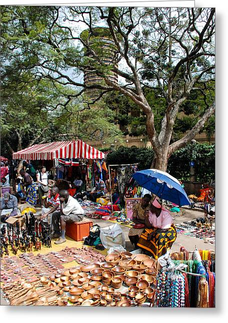 Geobob Greeting Cards - Open Air Market Downtown Nairobi Kenya and KANU Towers East Africa Greeting Card by Robert Ford
