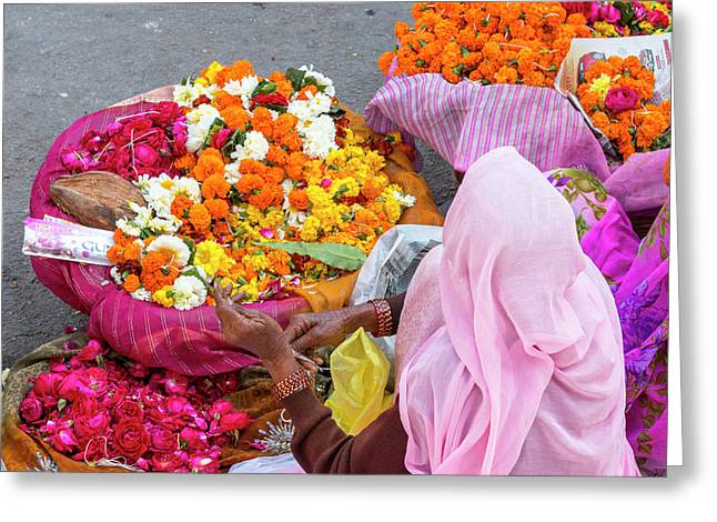 Open Air Market Udaipur Rajasthan India Greeting Card by Tom Norring